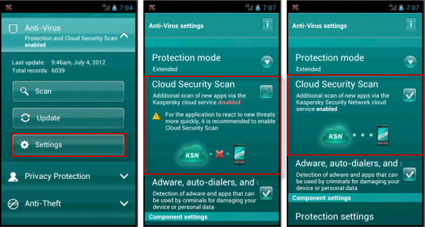 Kaspersky Virus Removal App for Android