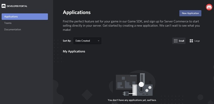 New Application in Discord