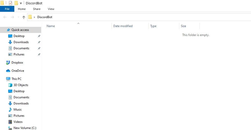 Create a Discord Bot Folder in PC